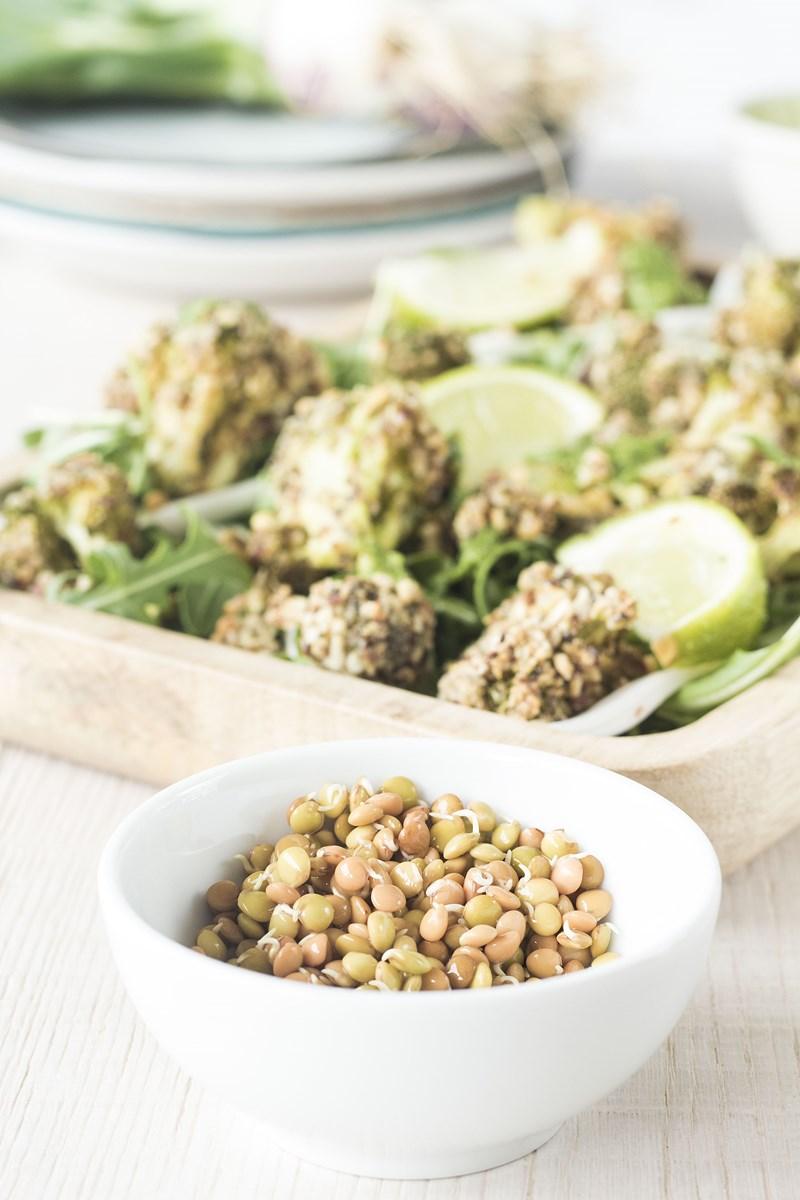 insalata di broccoli e lenticchie germogliate