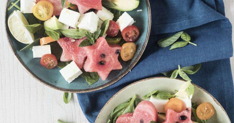 Insalata di anguria, feta  e basilico + calendario di agosto