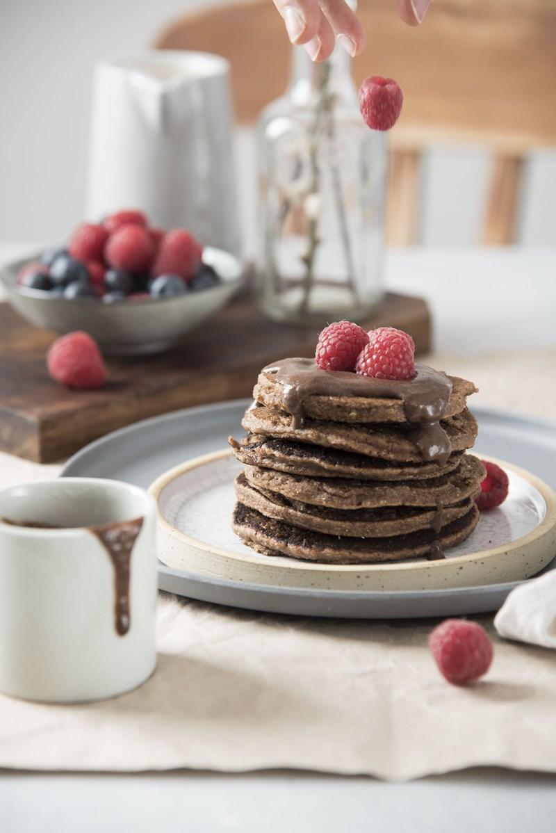 pancakes vegan con crema al cioccolato