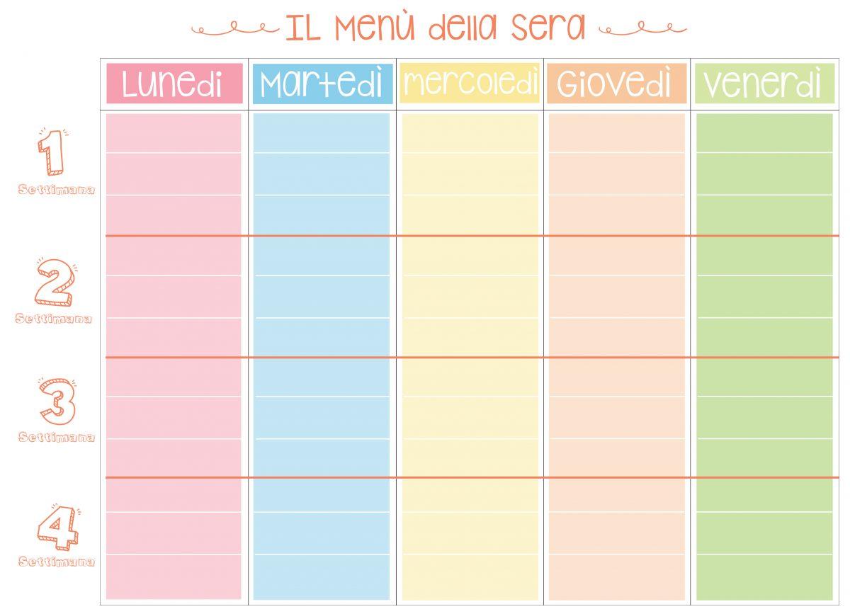 tabella per pianificazioni menù serali
