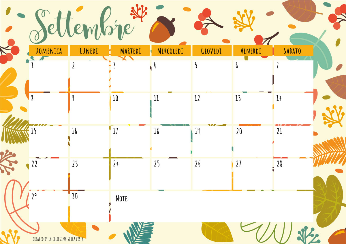 Welcome September PLANNER MENSILE
