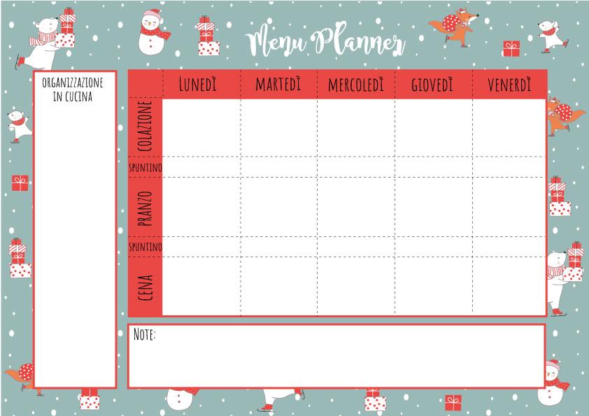 menu planner dicembre
